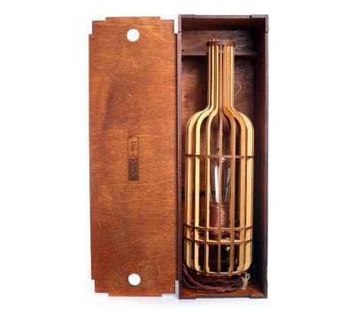 Подарочная коробка темная  + светильник бутылка вина ( светлая ) K001-S0080 СветпромЪ